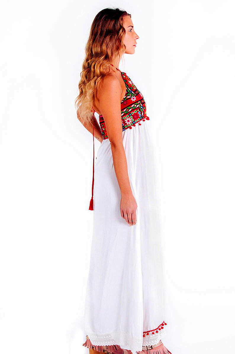 Savage Culture: Red Butterfly High Waisted Maxi Sundress Naples