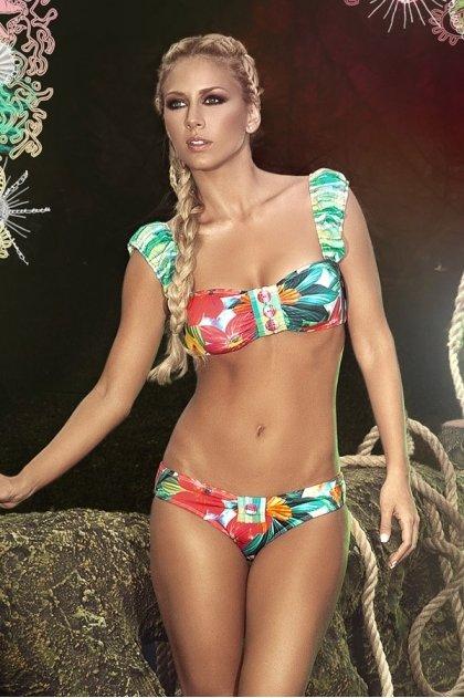 Paradizia Swimwear: Fuchsia Petals Paradise Ruffled Bustier (Shown With Matching Bottoms!) PARAD_BLUEPARADISE