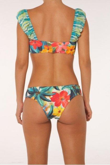 Paradizia Swimwear: Fuchsia Petals Paradise Ruffled Bustier (Shown With Matching Bottoms!)