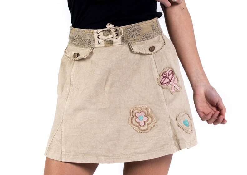 Savage Culture: Soft Denim Creme Patchwork Skirt Toscana SAVAGE_34048