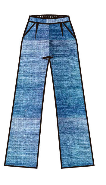 Paul Brial: Linen Denim Wide Leg Free Flow Trouser
