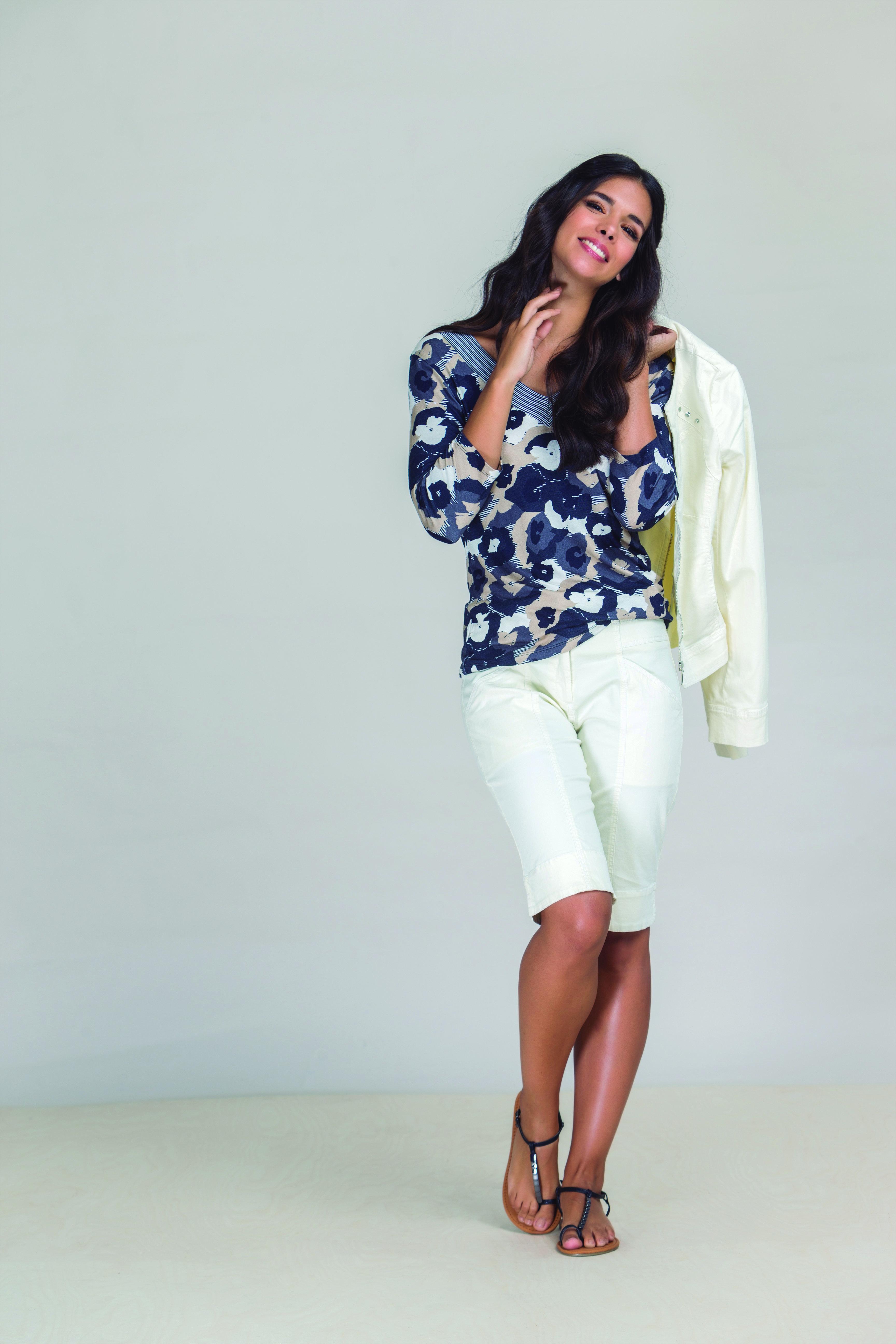 Paul Brial: Denim Daisies Colorblock Cotton Tunic