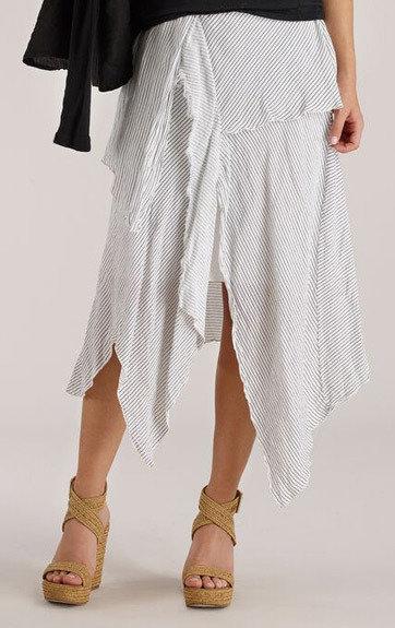Luna Luz: Striped Linen Asymmetrical Draped Paneled Skirt (Ships Immed, 1 Left!) LL_D715_N