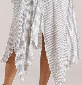 Luna Luz: Striped Linen Asymmetrical Draped Paneled Skirt (Ships Immed, 1 Left!)