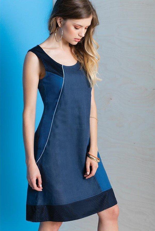 Maloka: Princess Seamed Linen Denim Midi Shift Dress MK_RENEE