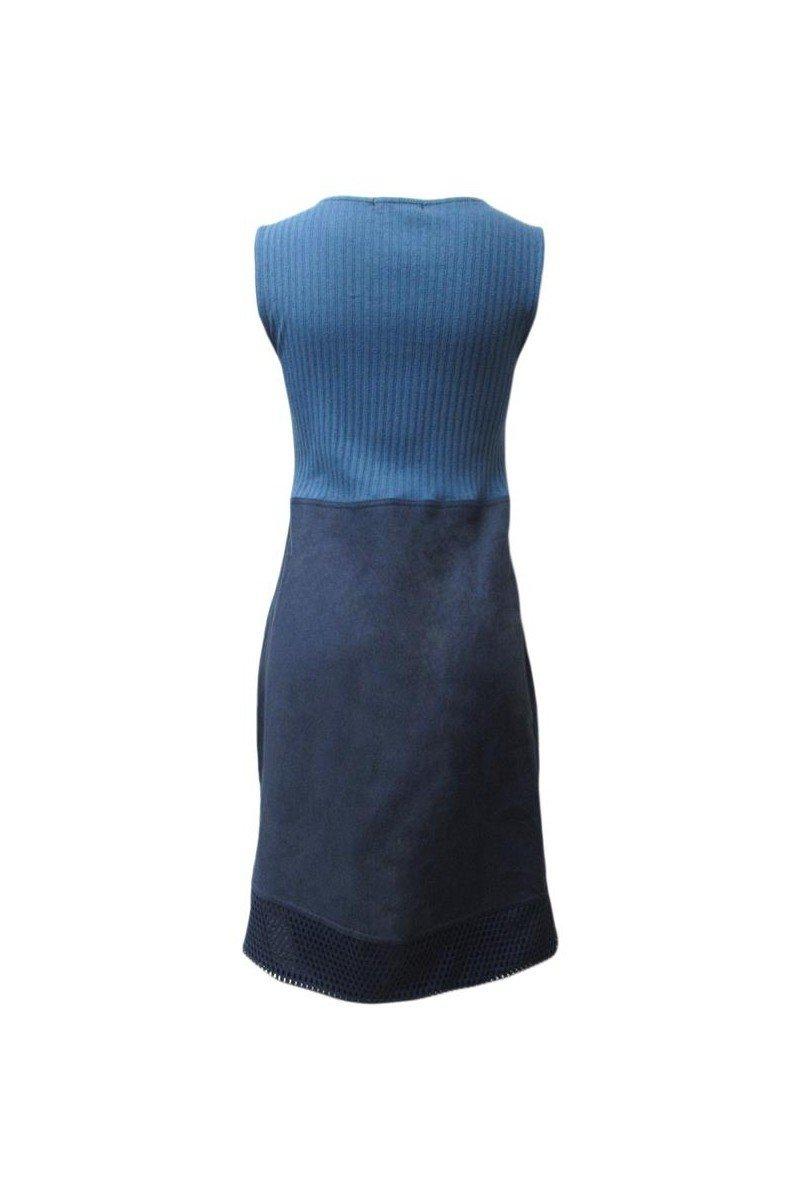 Maloka: Princess Seamed Linen Denim Midi Shift Dress