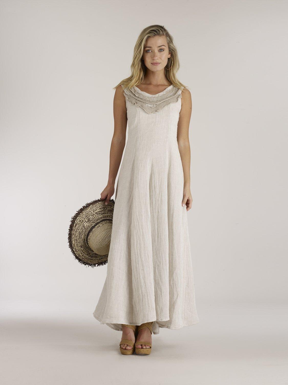 a50ded11e1 Luna Luz  Ruffled Bodice Princess Seamed Linen Gauze Maxi Dress ...