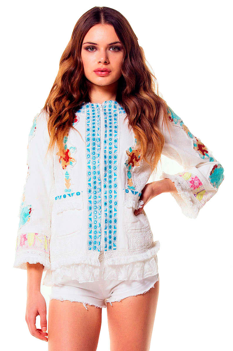 Savage Culture: Twinkle Little Star Embroidered Cotton Zip Up Jacket SAVAGE_34077