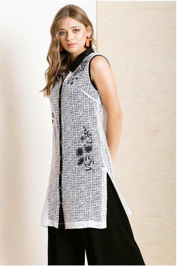 Maloka: Flower Embroidered Buttoned Down Long Tunic MK_KHAL