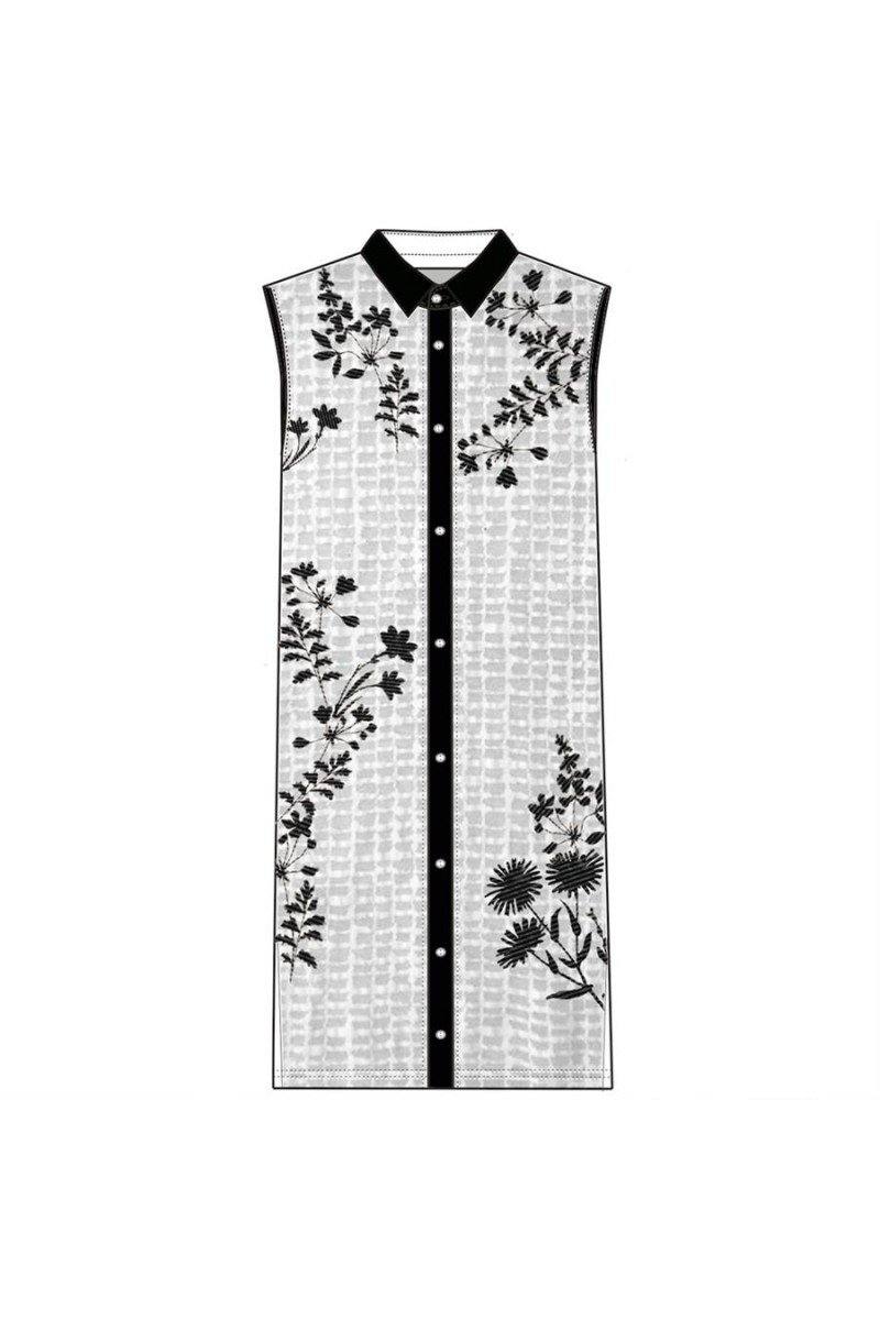 Maloka: Flower Embroidered Buttoned Down Long Tunic