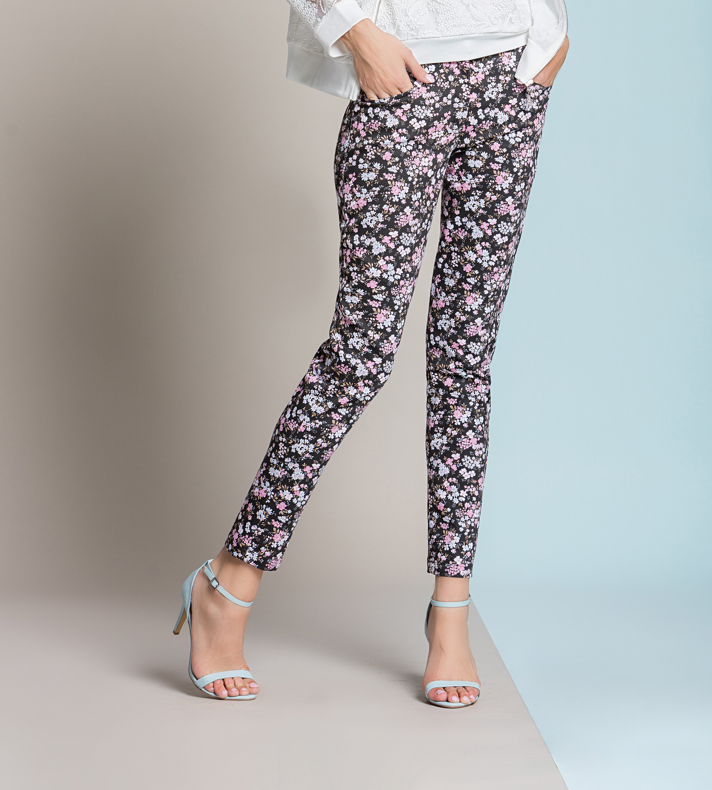 Paul Brial: Blush Flower Princess Seamed Cotton Pocket Pant SOLD OUT PB_GENTIANE