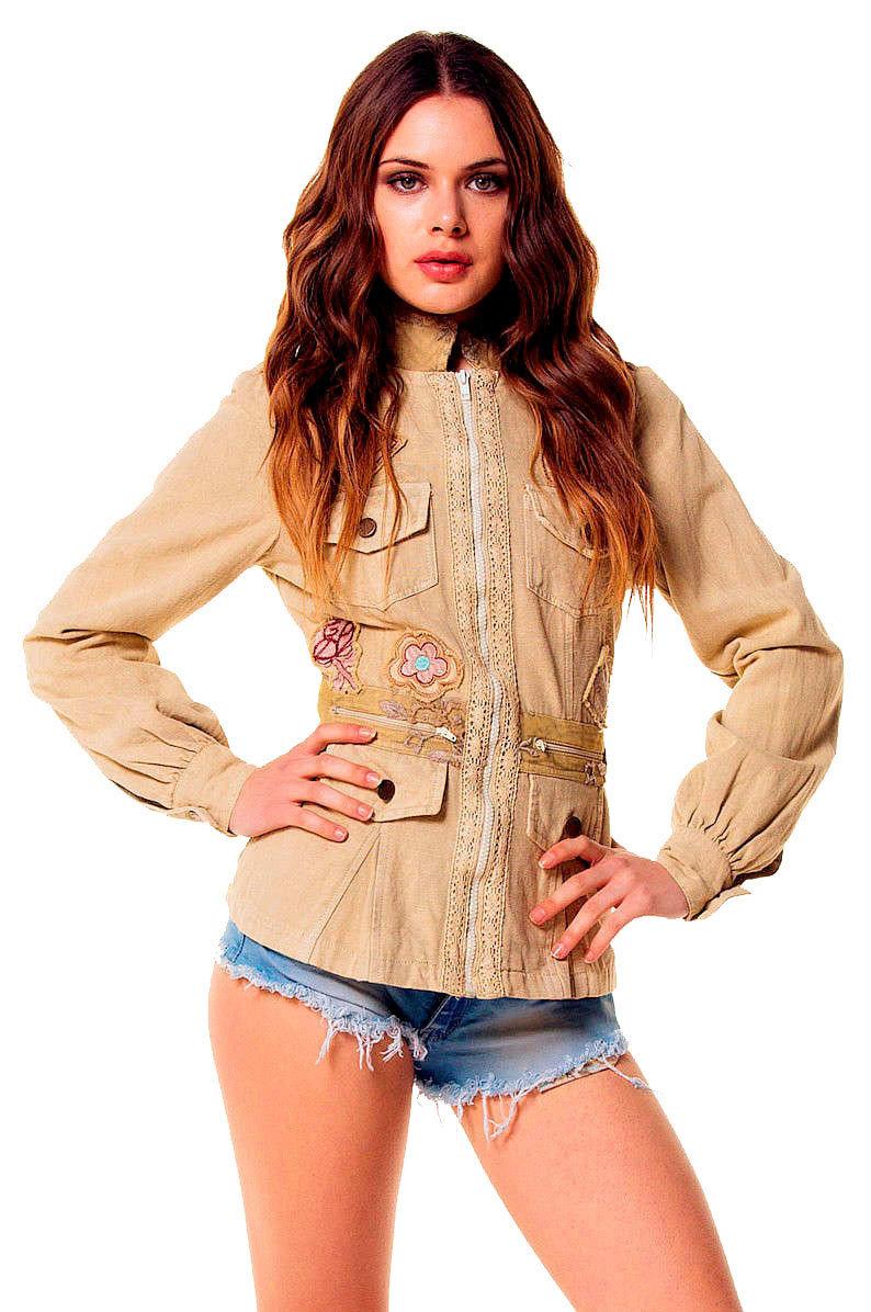 Savage Culture: Soft Denim Creme Patchwork Zip Up Jacket Toscana SAVAGE_SAVAGE_34049