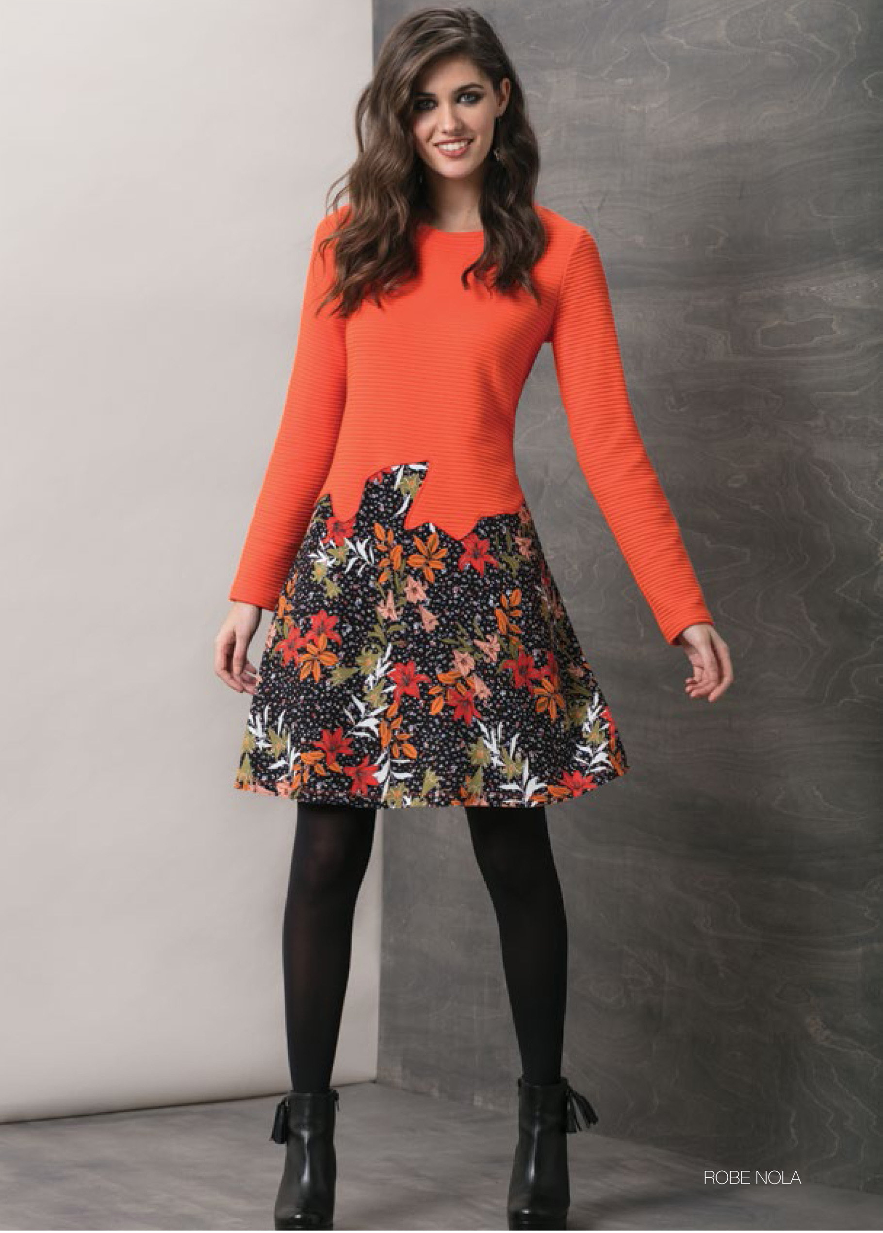 Maloka: Orange Rose Asymmetrical Waist Midi Dress (More Colors!) MK_NOLA_N1