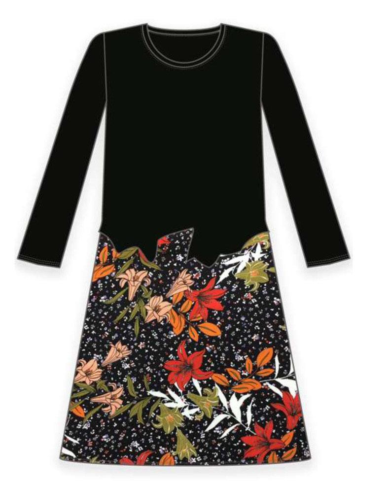 Maloka: Orange Rose Asymmetrical Waist Midi Dress (More Colors!)
