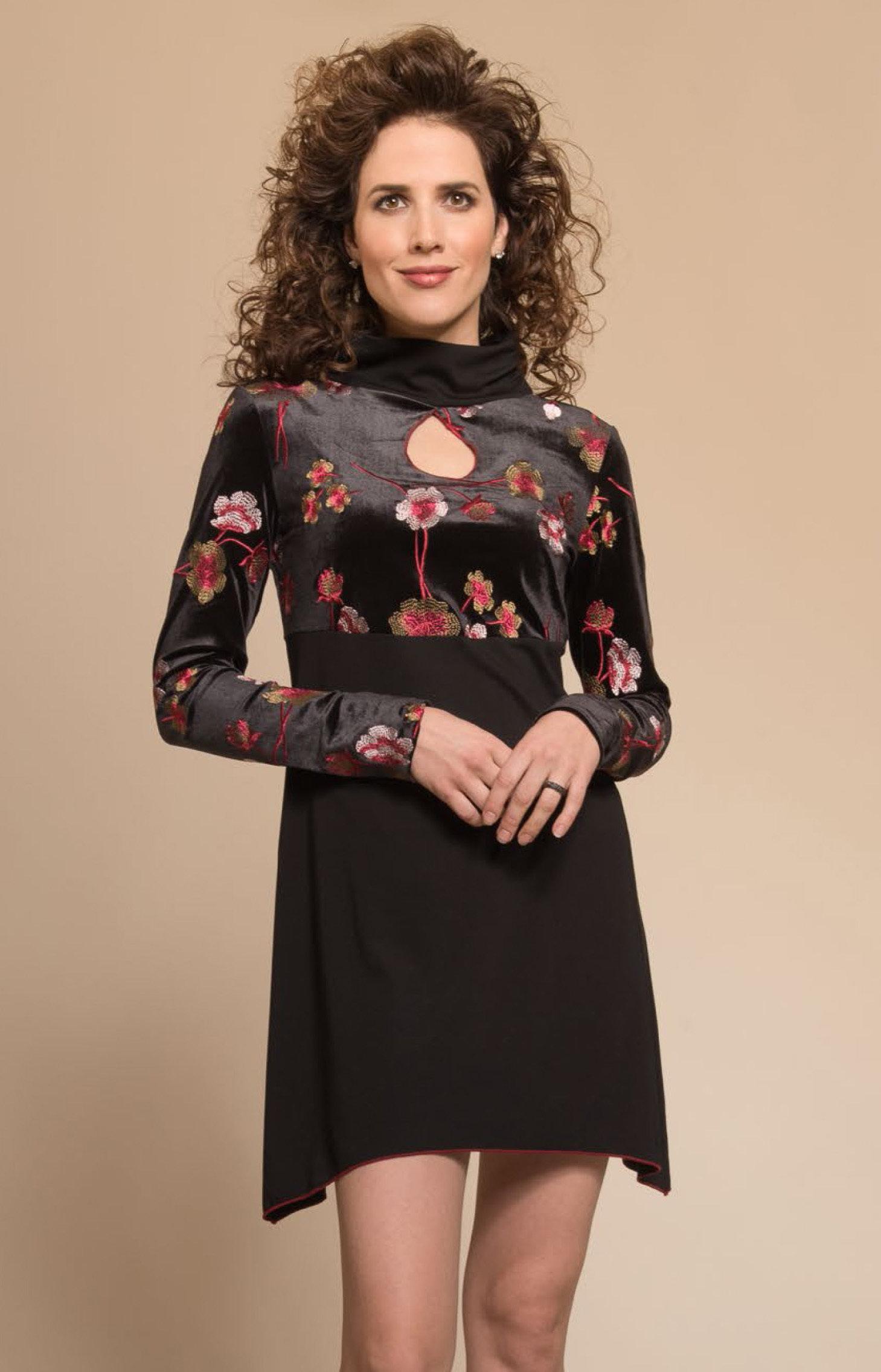 Myco Anna: Velvet Rose Keyhole Asymmetrical Dress/Tunic MA_OVERATURE_C1_N