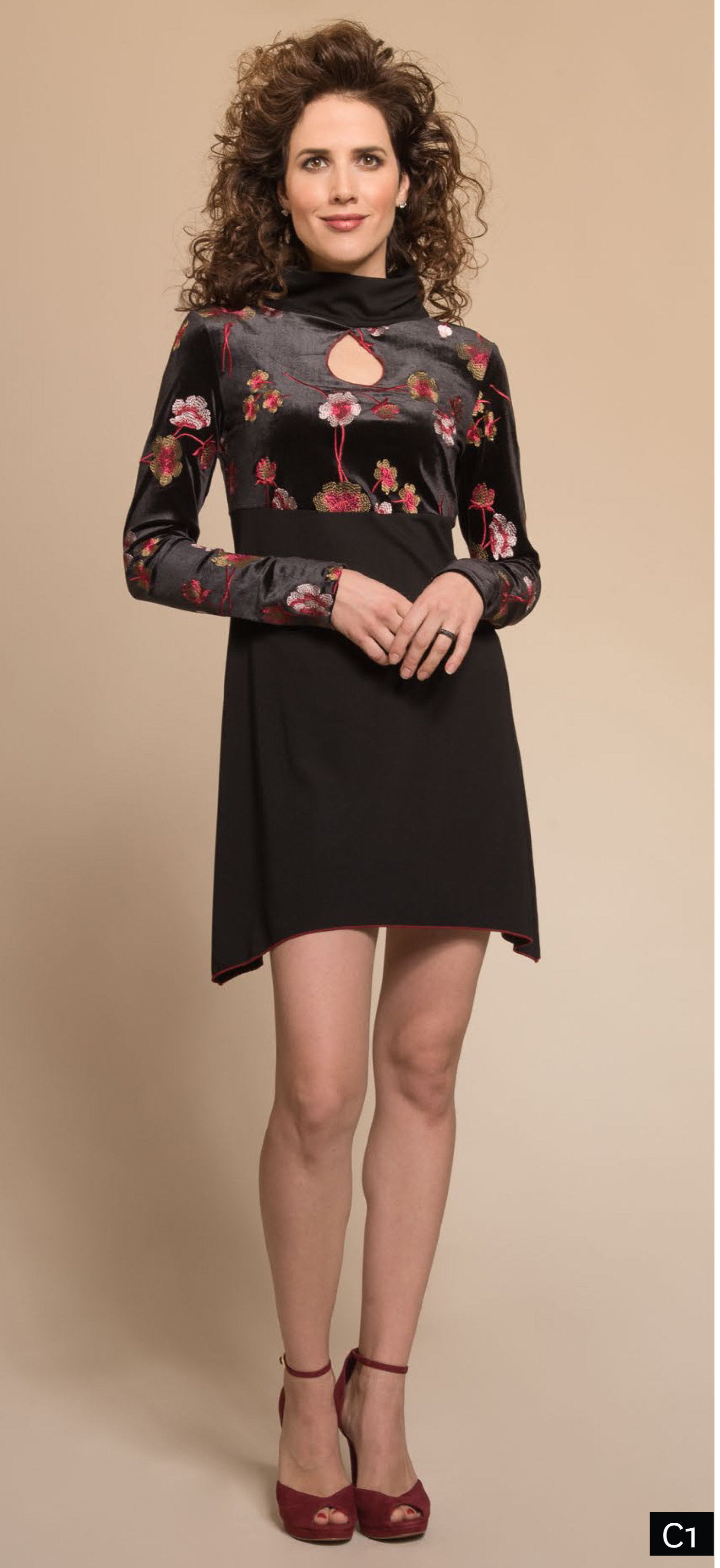 Myco Anna: Velvet Rose Keyhole Asymmetrical Dress/Tunic