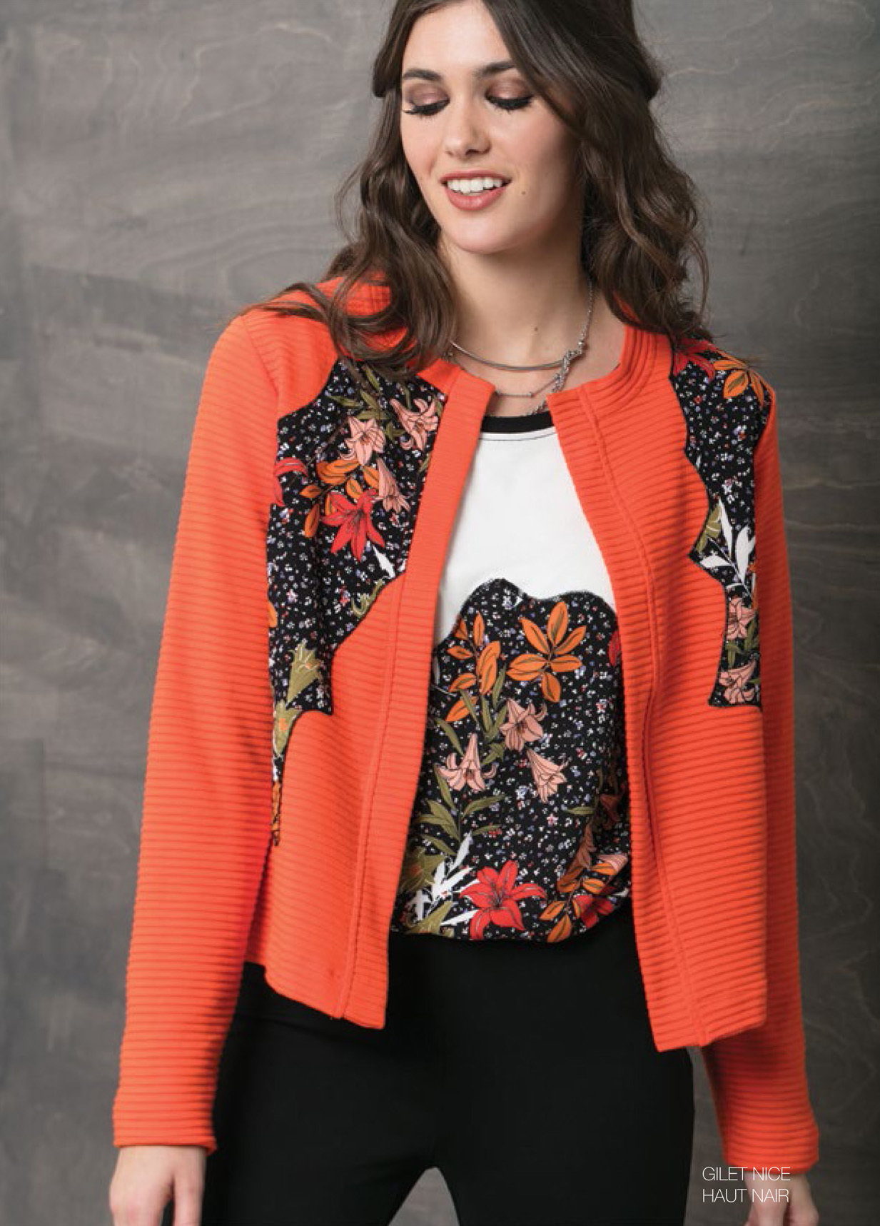Maloka: Orange Rose Asymmetrical Bodice Short Jacket (2 Left in Black!) MK_NICE
