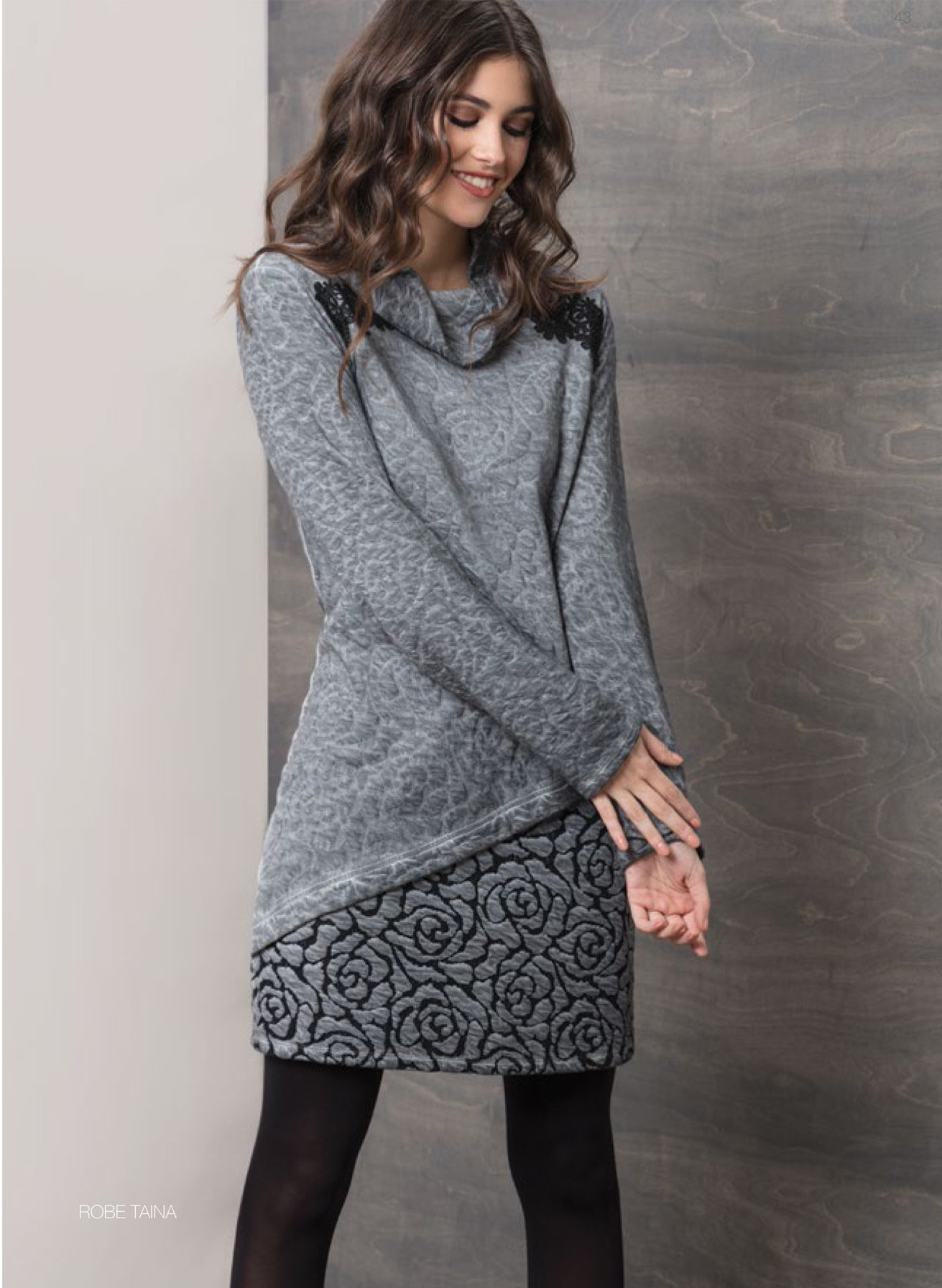 Maloka: Rose Imprinted Angled Hem Sweater Dress (2 Left!) MK_TAINA_N4