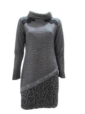 Maloka: Rose Imprinted Angled Hem Sweater Dress (2 Left!)