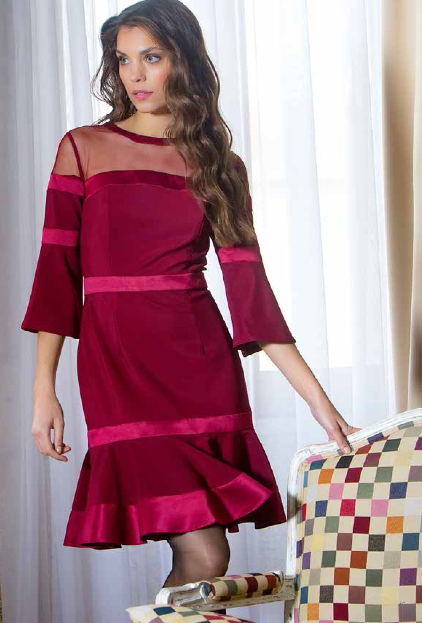 Paul Brial: Irresistible Ribboned Midi Trumpet Gown (In Cherry & Black!) PB_TENTATION