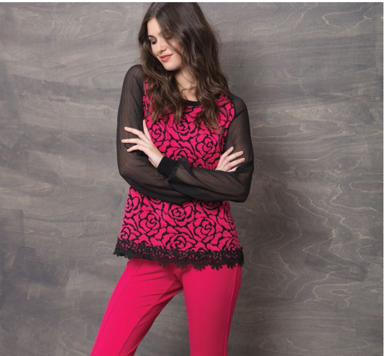 Maloka: Fuschia Rose Imprinted Asymmetrical Hem Sweater (2 Left!) MK_MARIE_N2