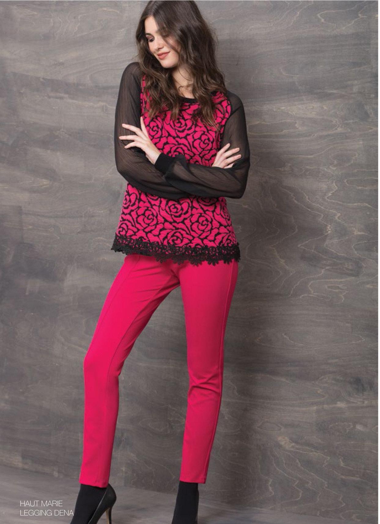 Maloka: Fuschia Rose Imprinted Asymmetrical Hem Sweater (2 Left!)
