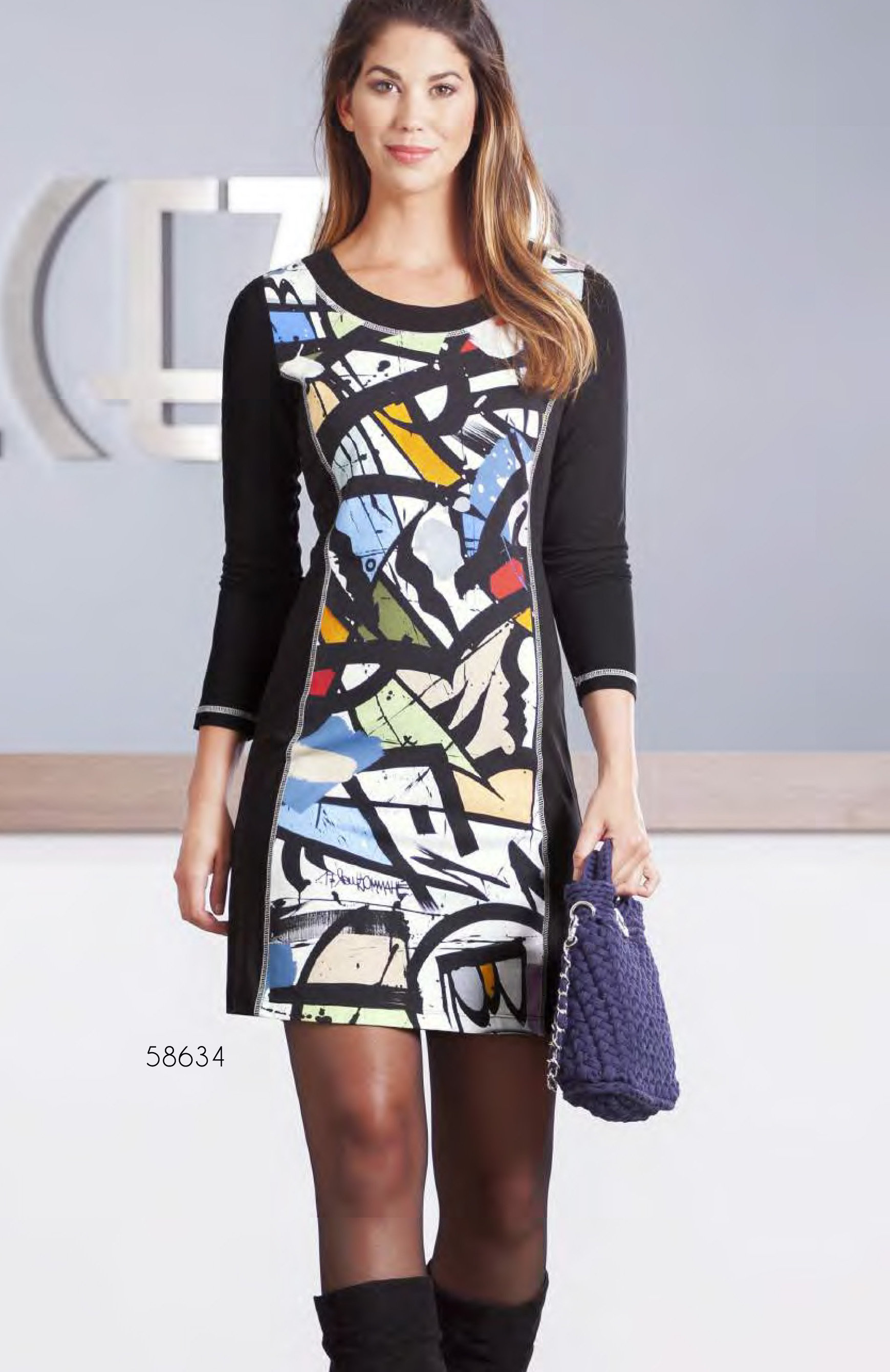 Simply Art Dolcezza: Gorgeous Graffiti Art Cotton Knit Dress/Tunic (2 Left!) DOLCEZZA_SIMPLYART_58634_N