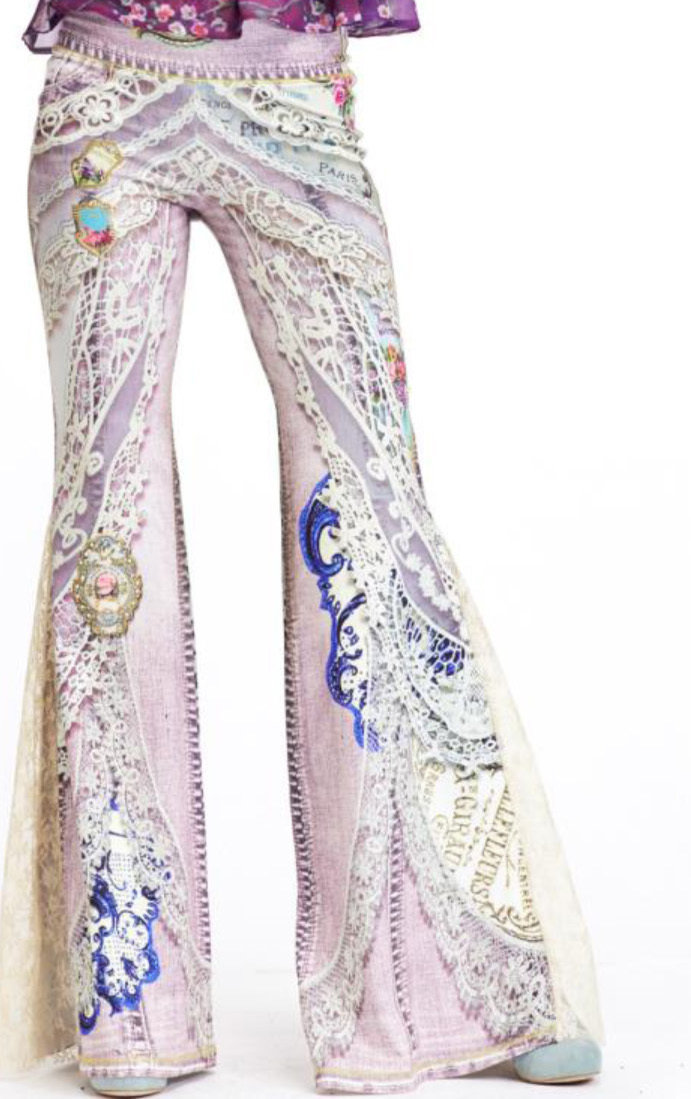 IPNG: Pink Jewels Ribboned Lace Illusion Flare Pant IPNG_ATYP-072