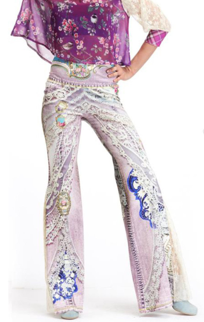 IPNG: Pink Jewels Ribboned Lace Illusion Flare Pant