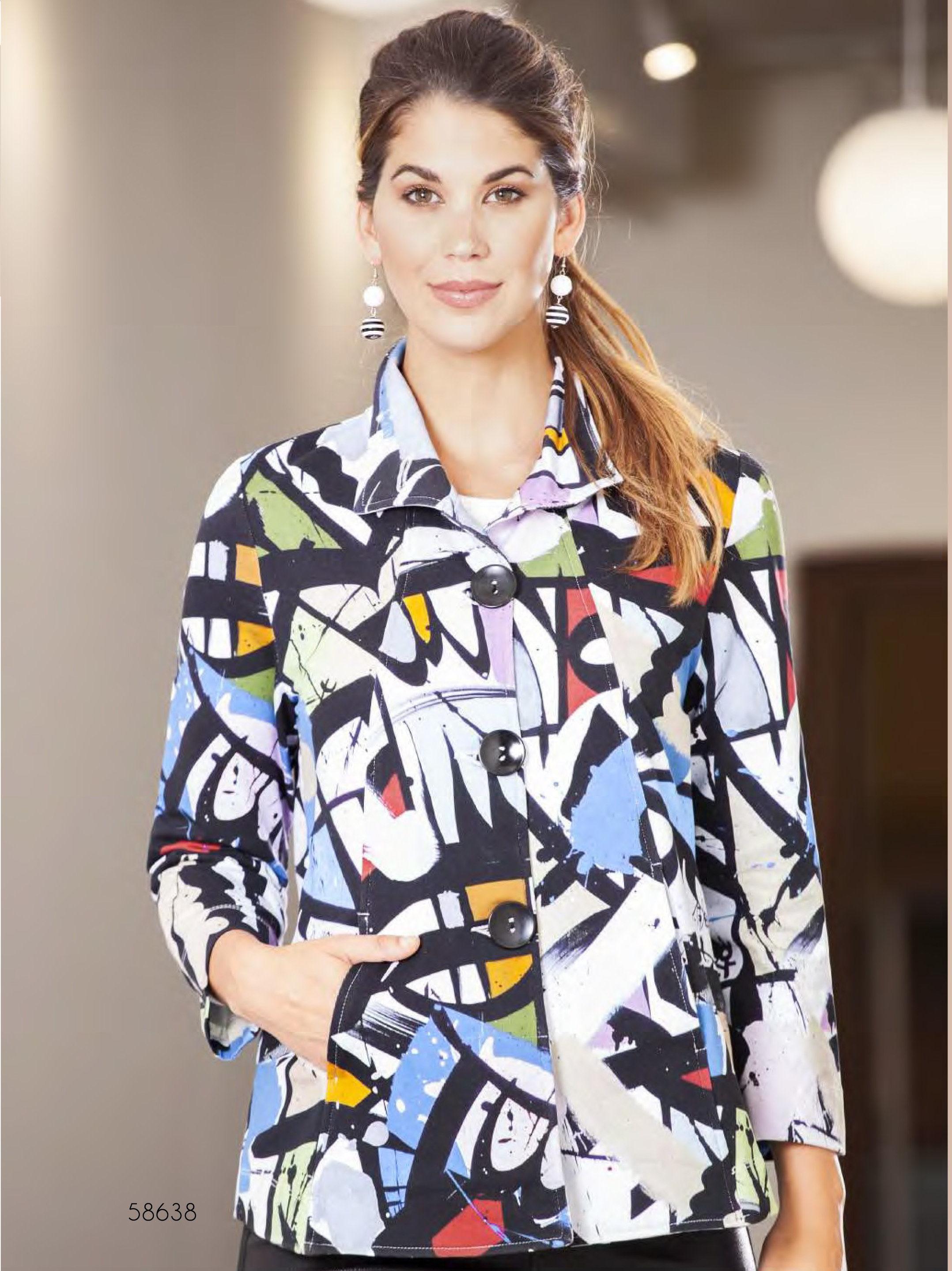 Simply Art Dolcezza: Gorgeous Graffiti Art Knit Cardigan Jacket (2 Left!) DOLCEZZA_SIMPLYART_58638_N1