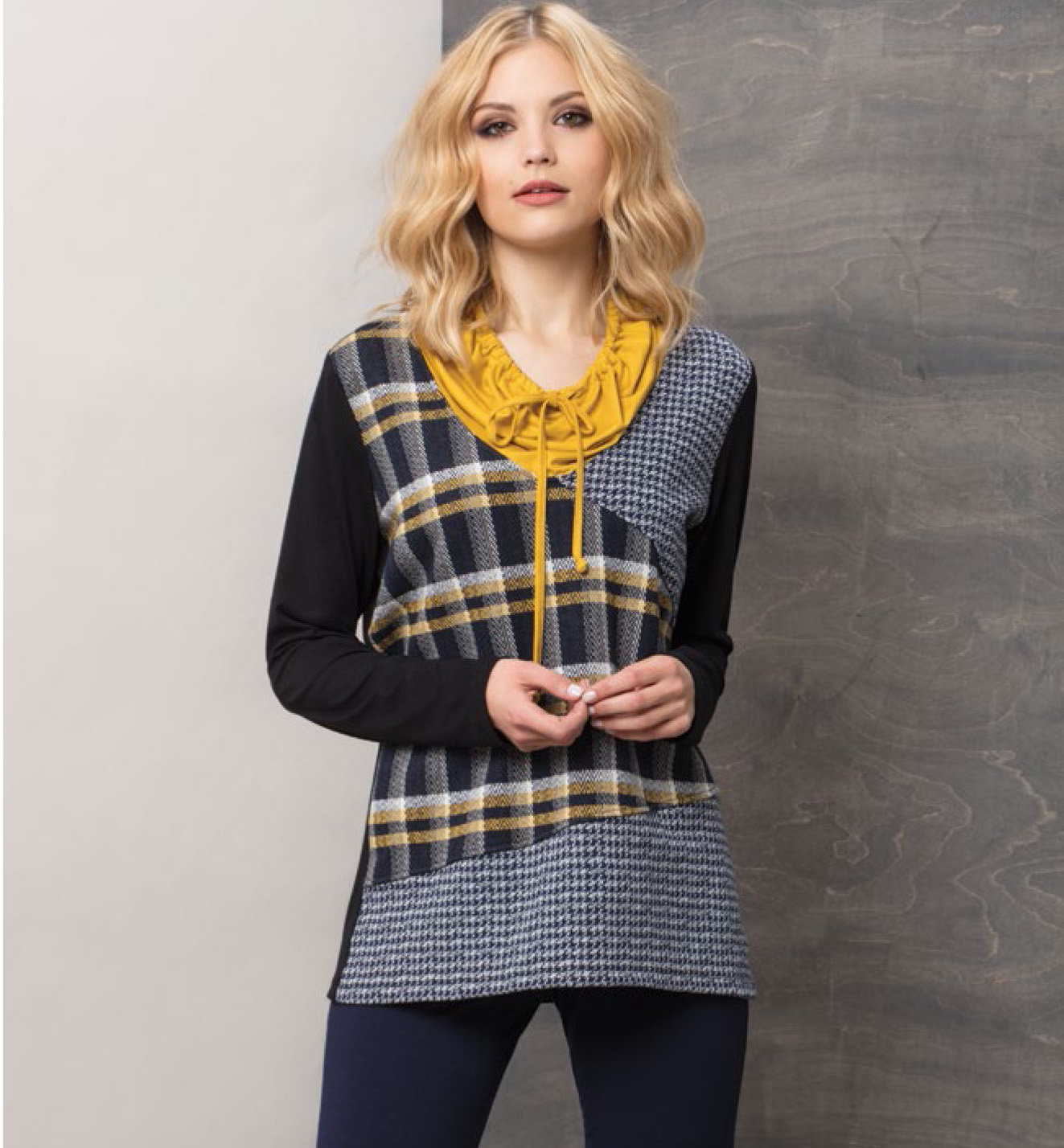 Maloka: Midnight Lemon Plaid Pieced Tunic (1 Left!) MK_PALO