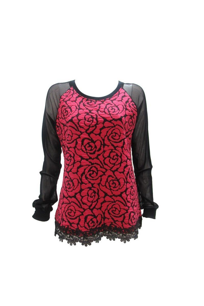 Maloka: Fuschia Rose Imprinted Asymmetrical Hem Sweater (2 Left!)