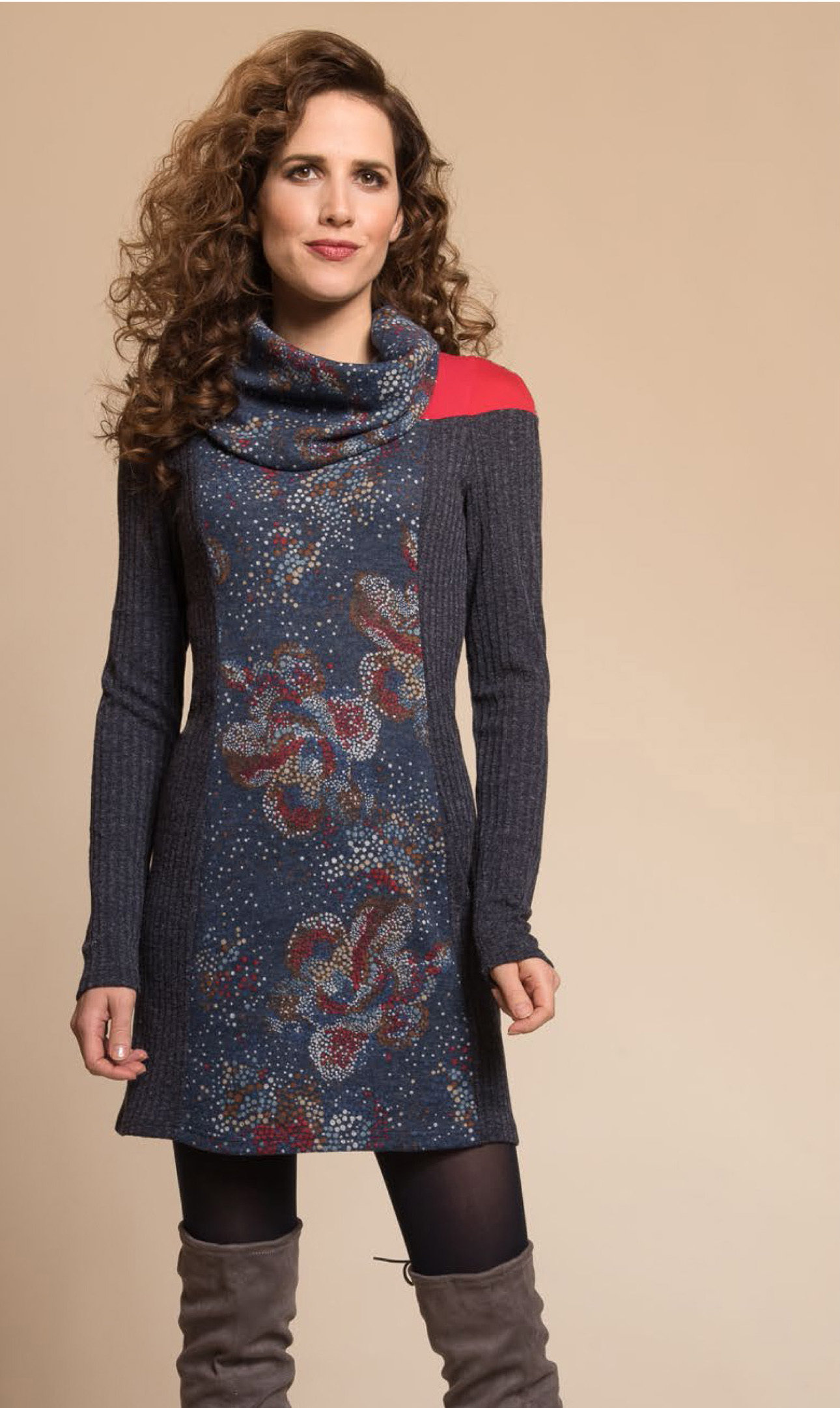 Myco Anna: Cosmic Eco-Wear Asymmetrical Patchwork Sweater Dress MA_DIVERSITE_C2_N