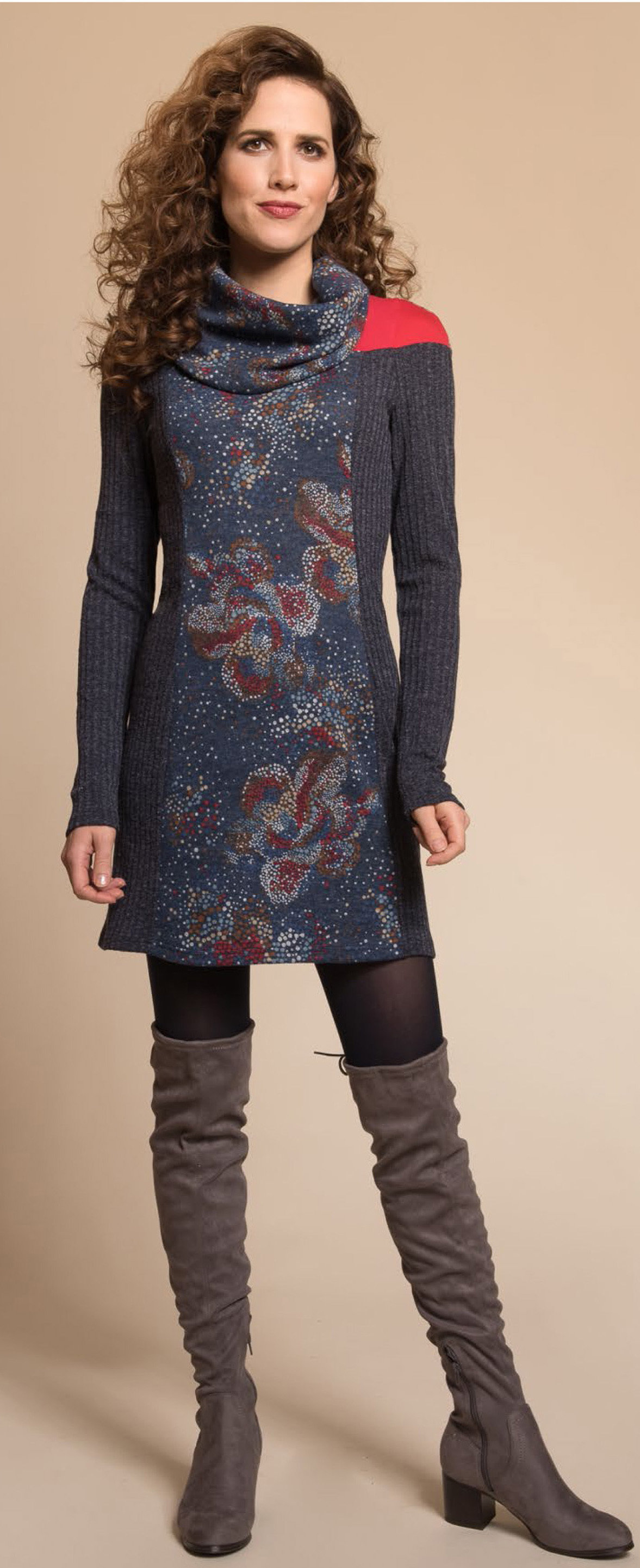 Myco Anna: Cosmic Eco-Wear Asymmetrical Patchwork Sweater Dress