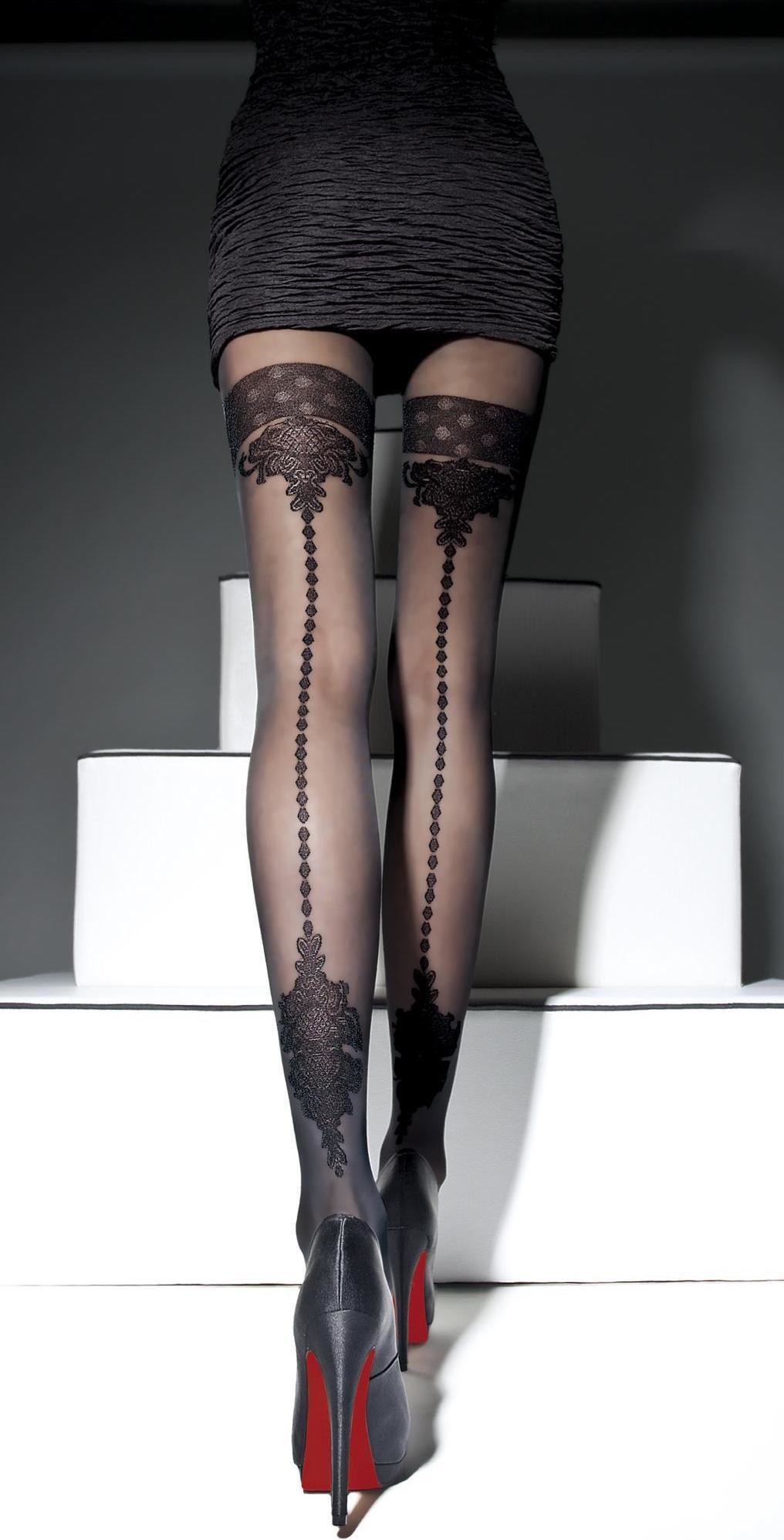 Fiore: Crystal Chandelier Semi-Opaque Patterned Tights FIO_APRIEL_n