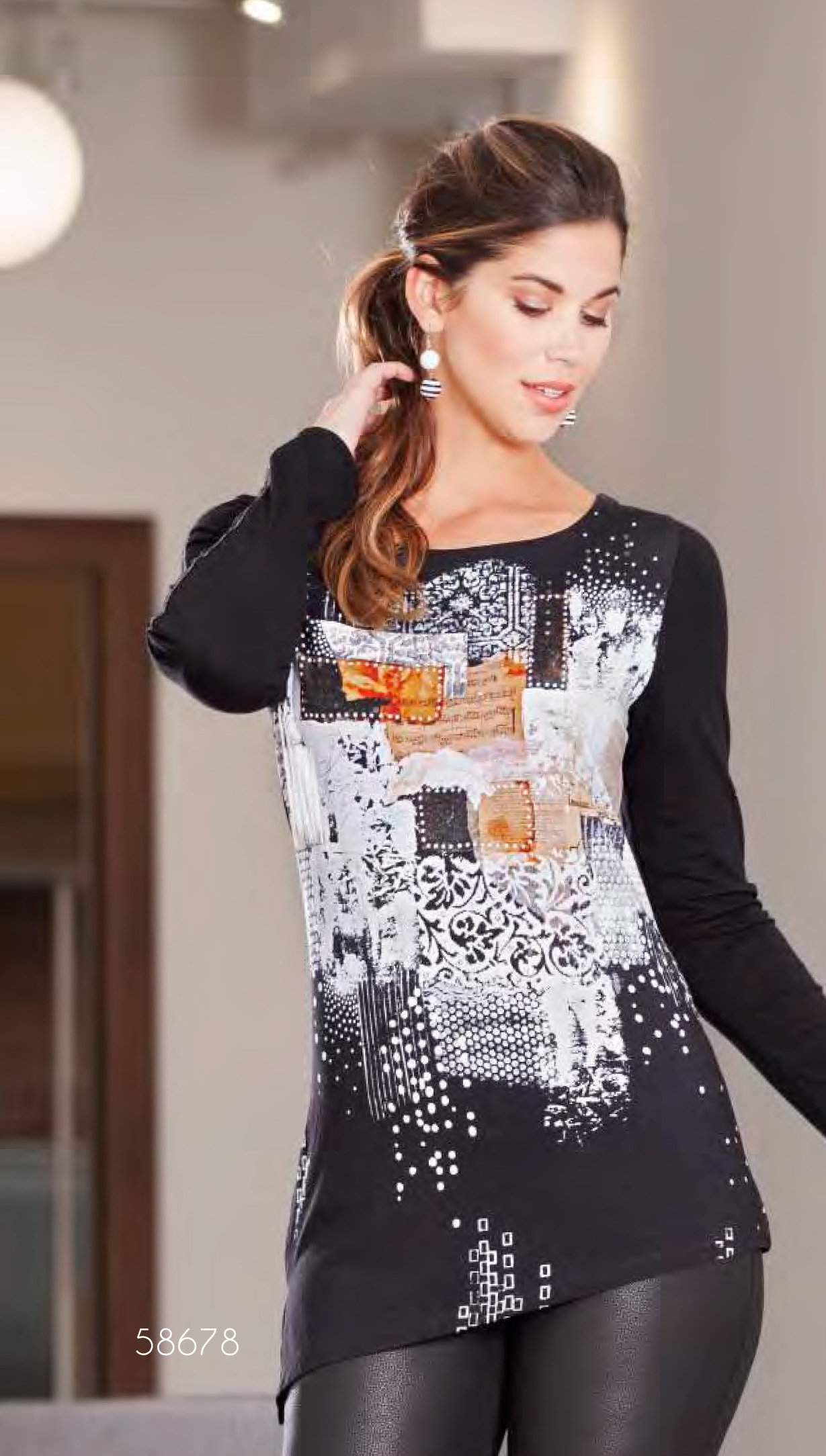 Simply Art Dolcezza: Explosion of Crystals Asymmetrical Abstract Art Tunic (1 Left!) DOLCEZZA__SIMPLYART_58672_N