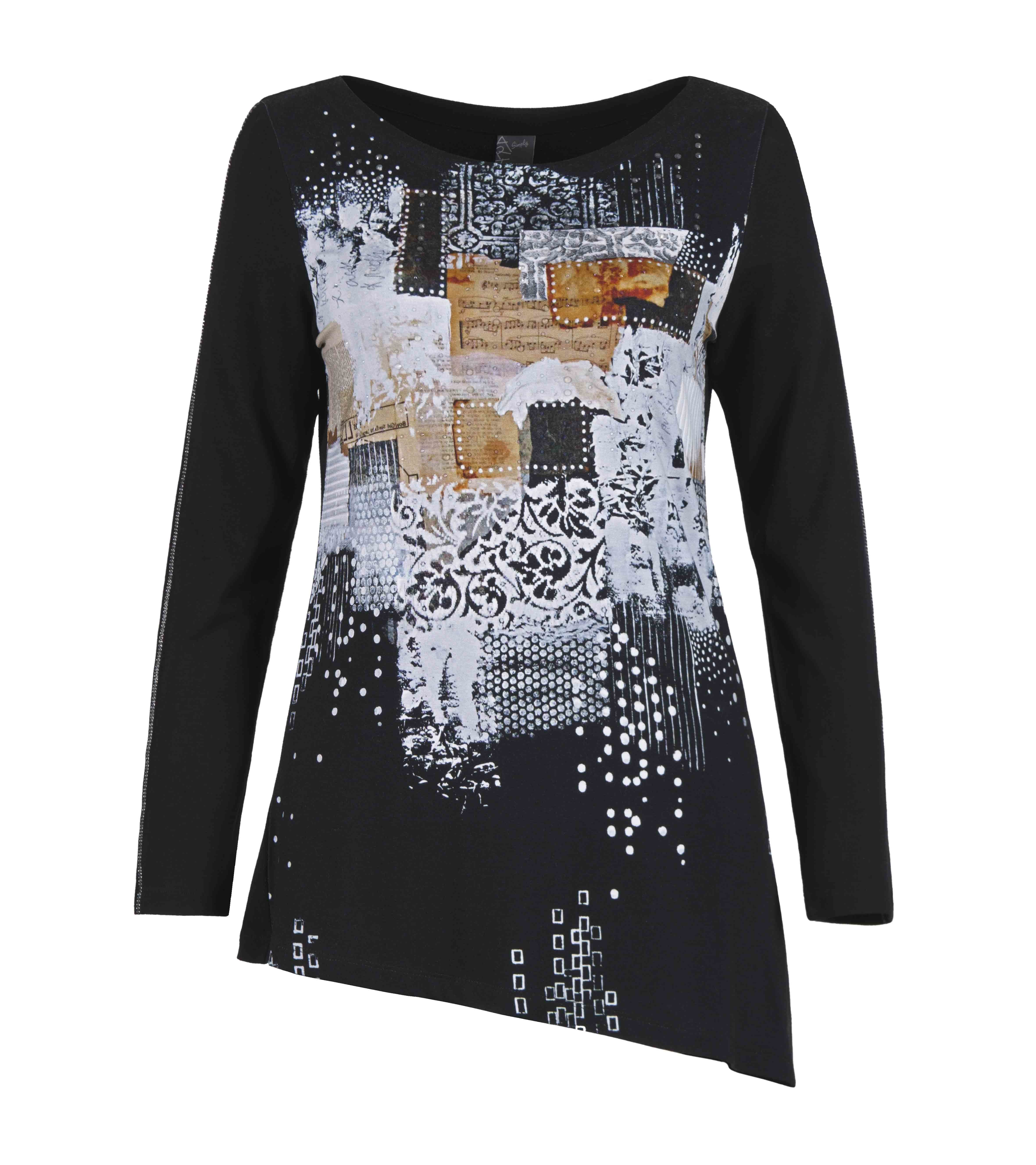Simply Art Dolcezza: Explosion of Crystals Asymmetrical Abstract Art Tunic