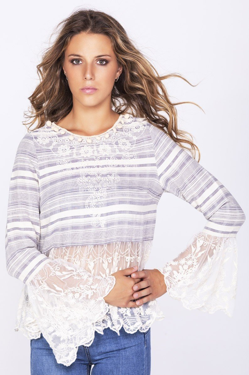 Savage Culture: Embroidered Denim Bell Sleeve Mesh Tunic Ganges SAVAGE_35502