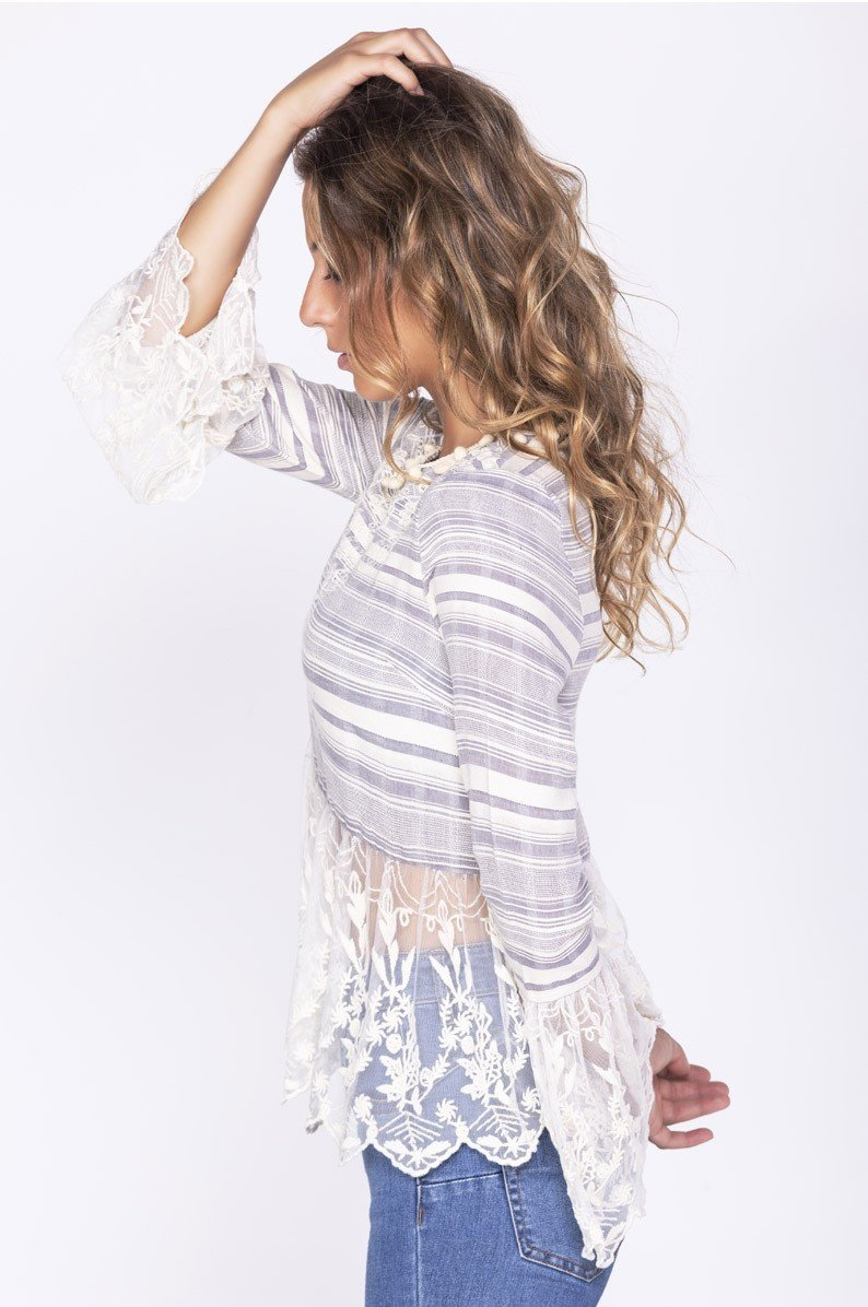 Savage Culture: Embroidered Denim Bell Sleeve Mesh Tunic Ganges
