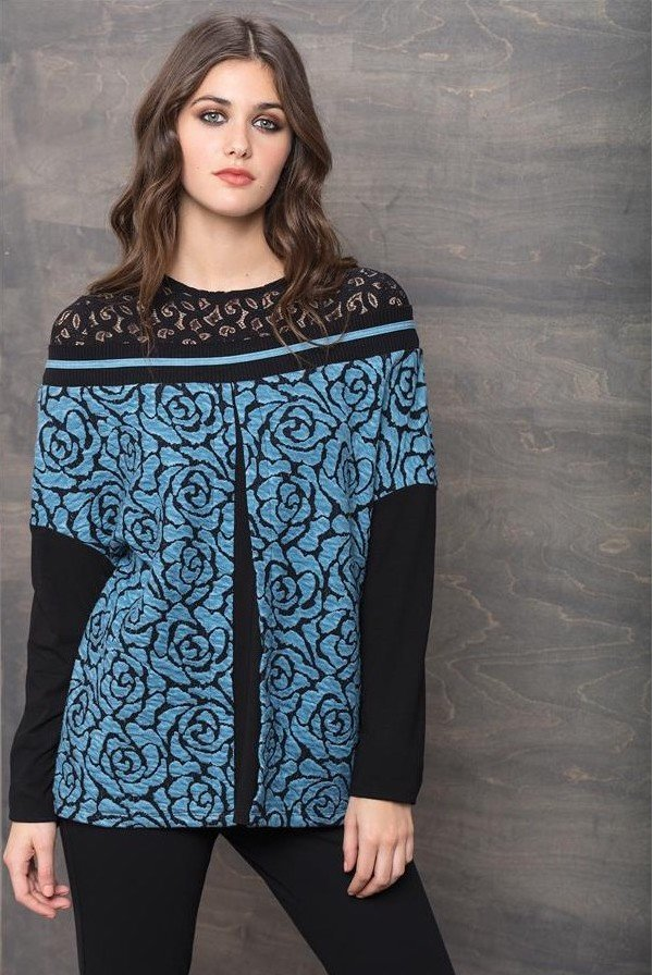 Maloka: Blue Rose Imprinted Mixed Media Tunic Sweater MK_TYLER