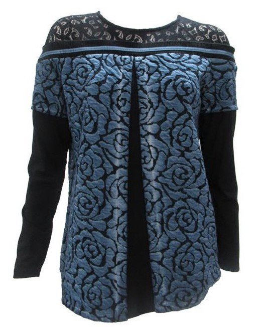 Maloka: Blue Rose Imprinted Mixed Media Tunic Sweater