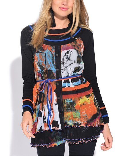 S'Quise Paris: Autumn Leaves Abstract Art Crinkled Tunic SQ_6504_N