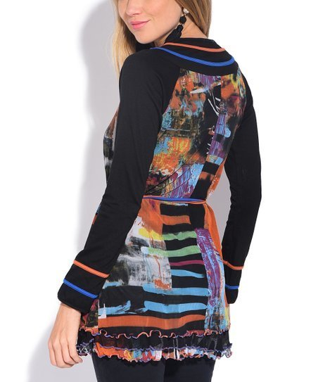 S'Quise Paris: Autumn Leaves Abstract Art Crinkled Tunic