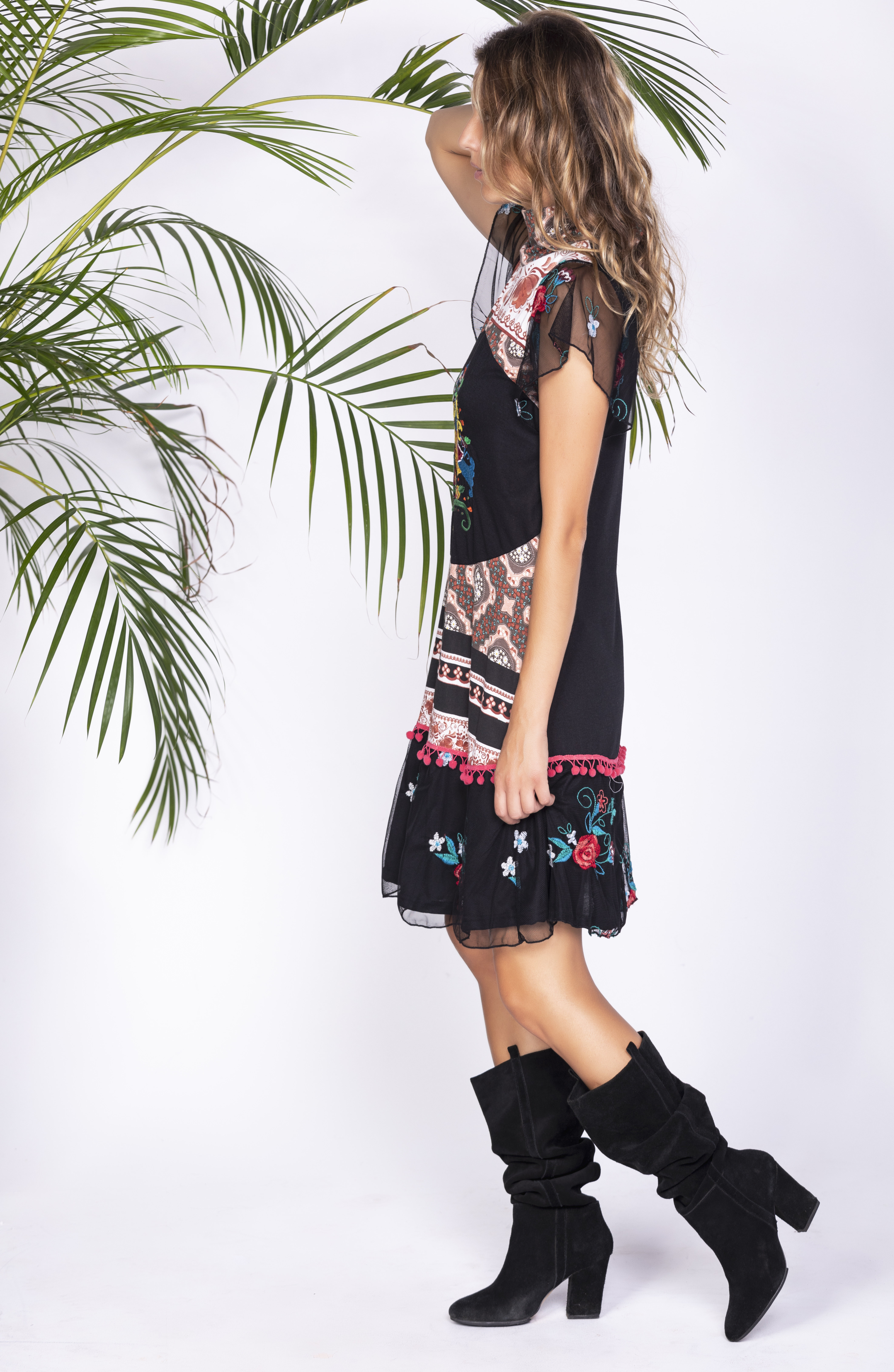 Savage Culture: Little Black Embroidered Rosette Dress San Petersburgo SOLD OUT