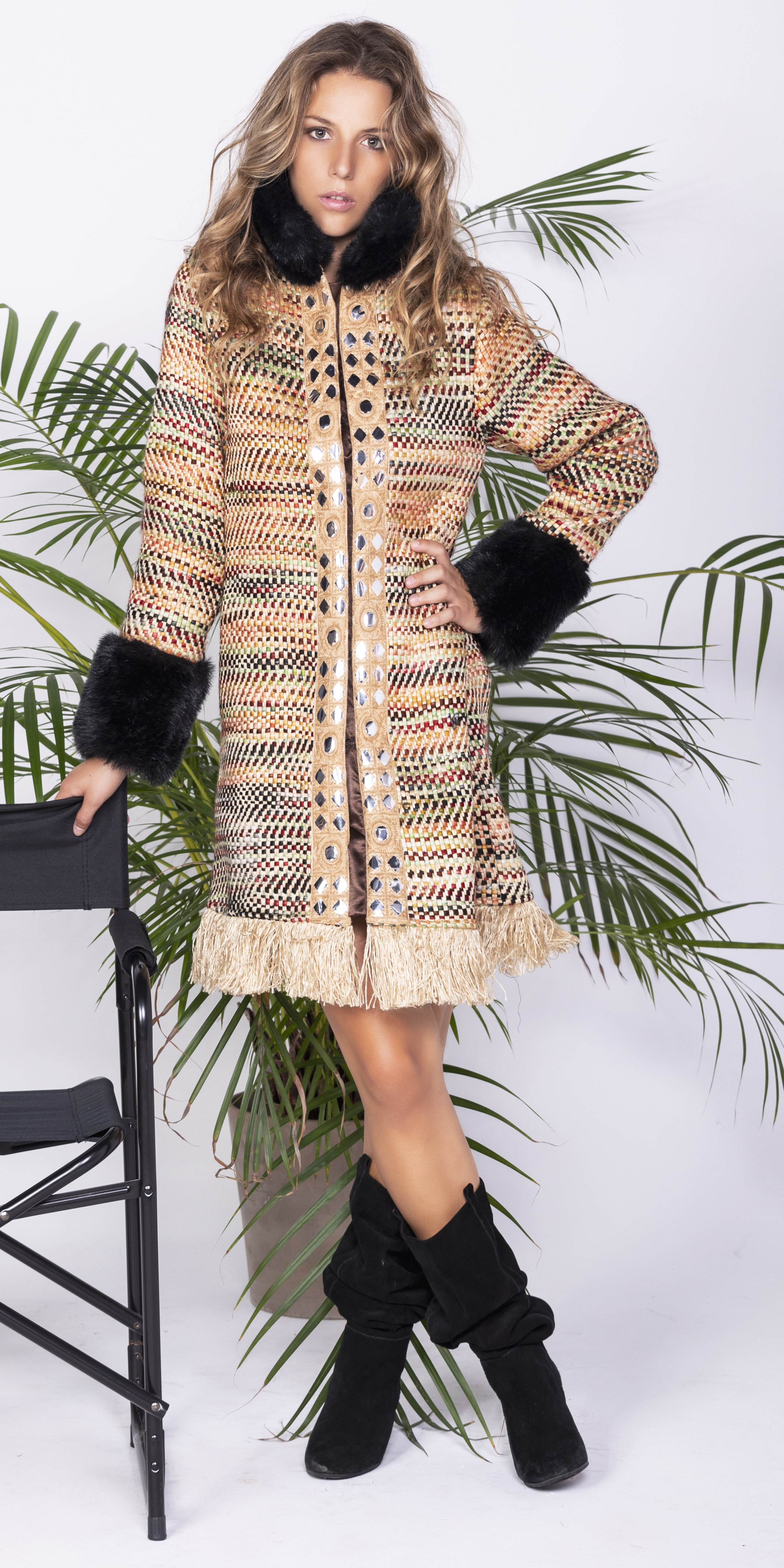 Savage Culture: Frills and Faux Fur Glam Coat Chambal SAVAGE_35517