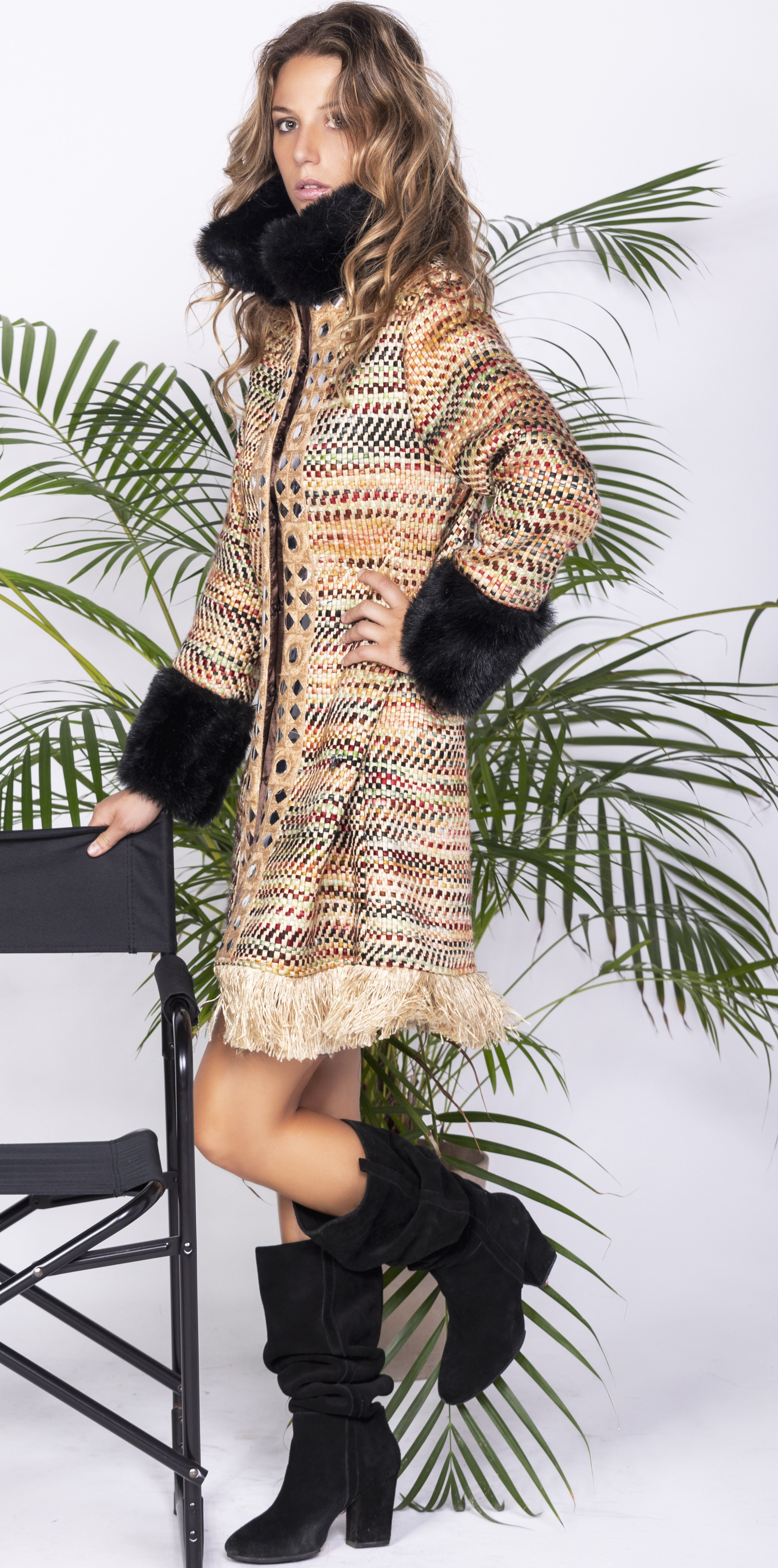 Savage Culture: Frills and Faux Fur Glam Coat Chambal