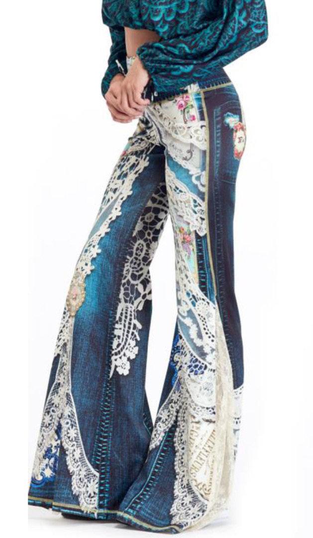 IPNG: Indigo Jewels Ribboned Lace Illusion Flare Pant
