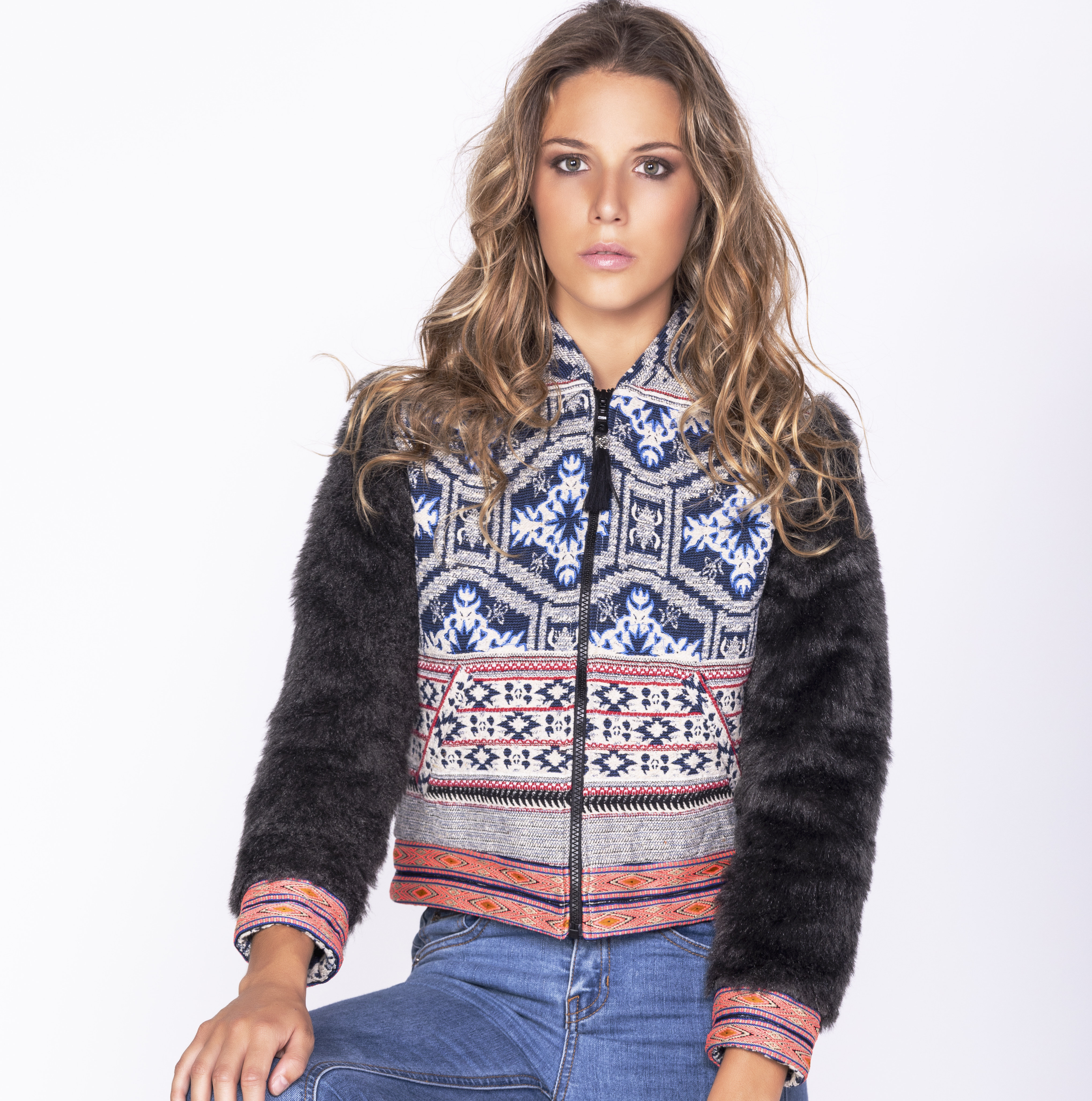 Savage Culture: Embroidered Faux Fur Moto Zip Jacket Ganges SAVAGE_35505