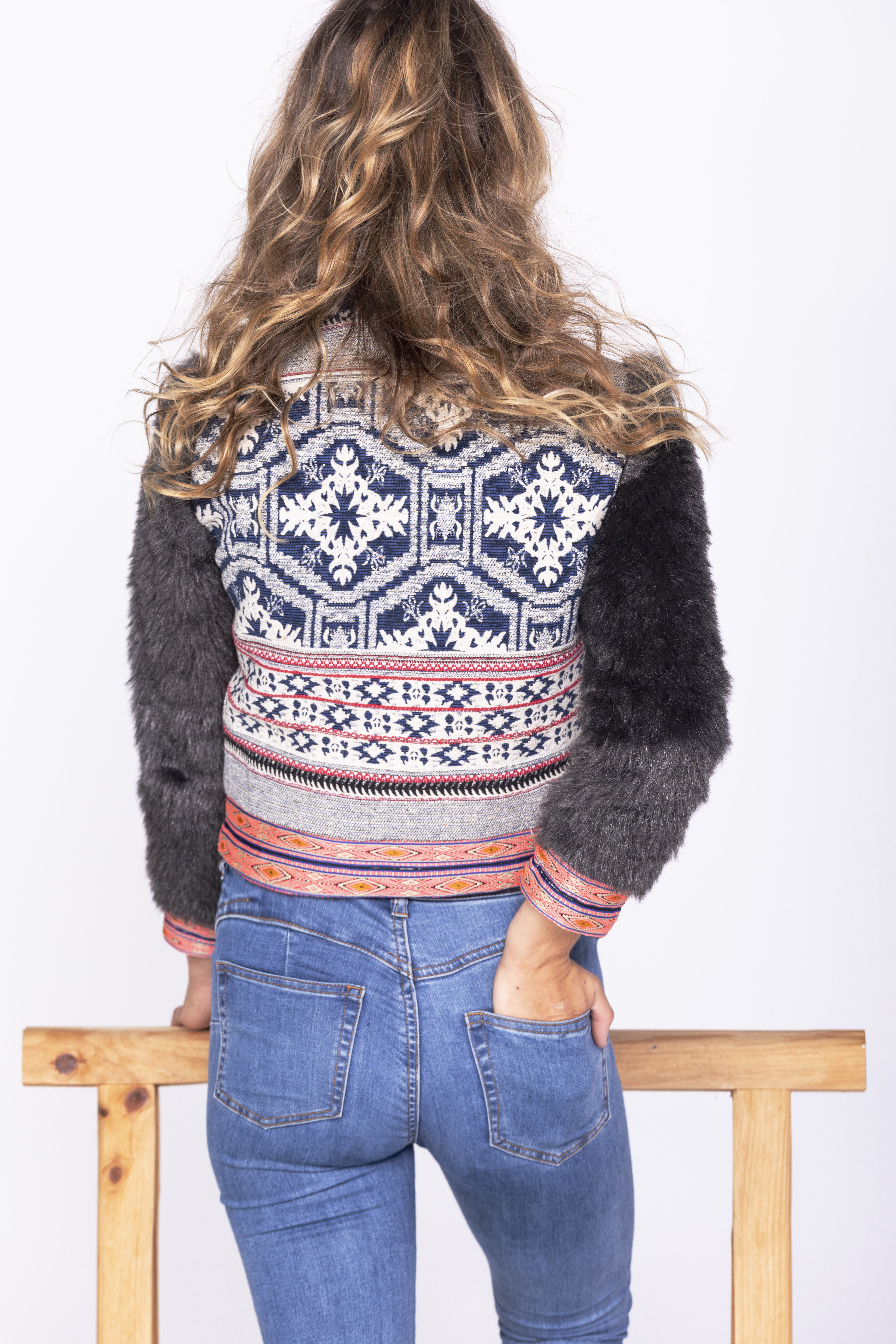 Savage Culture: Embroidered Faux Fur Moto Zip Jacket Ganges