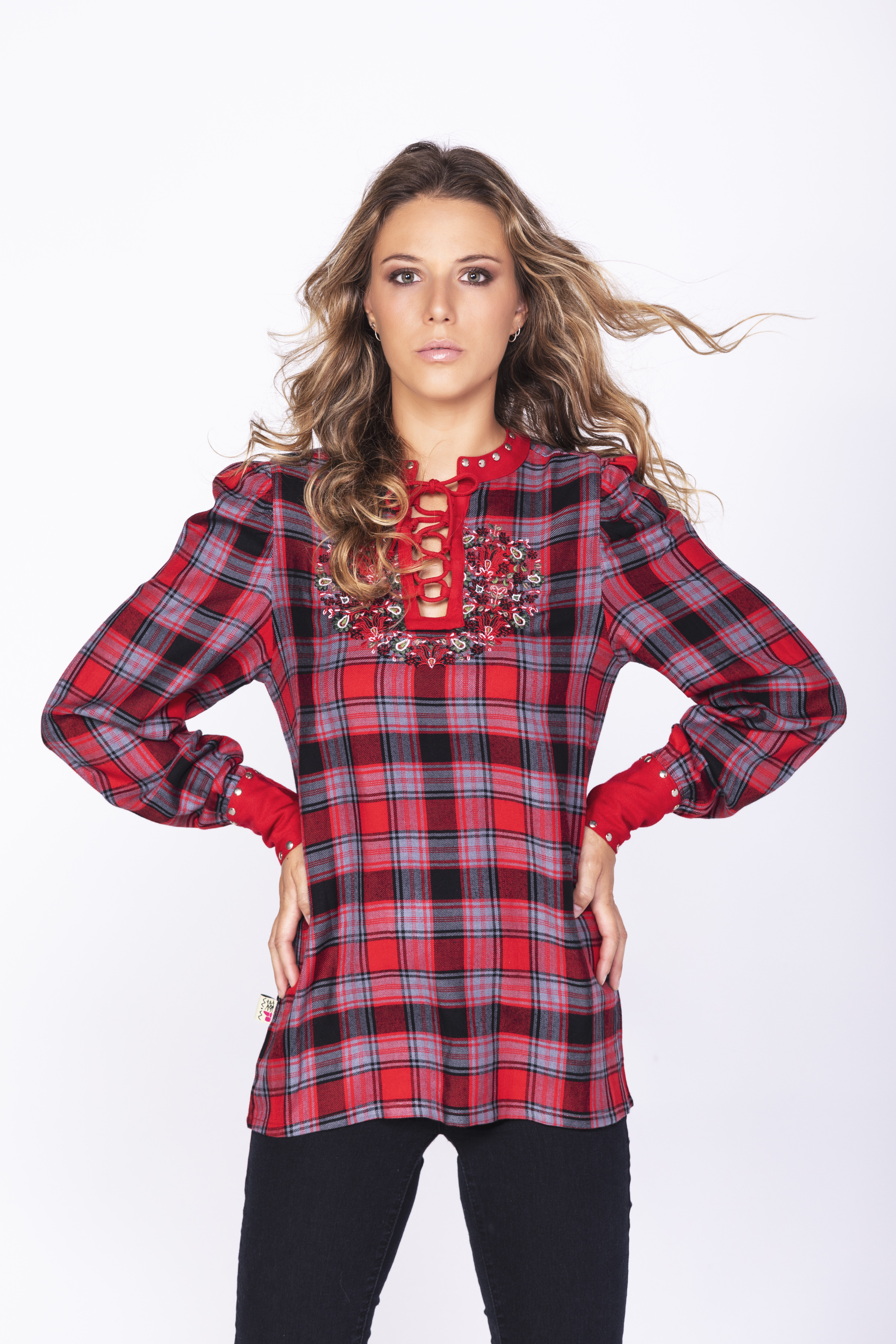 Savage Culture: Rose Red Plaid Criss Cross Tunic Kalingrado SOLD OUT SAVAGE_35062